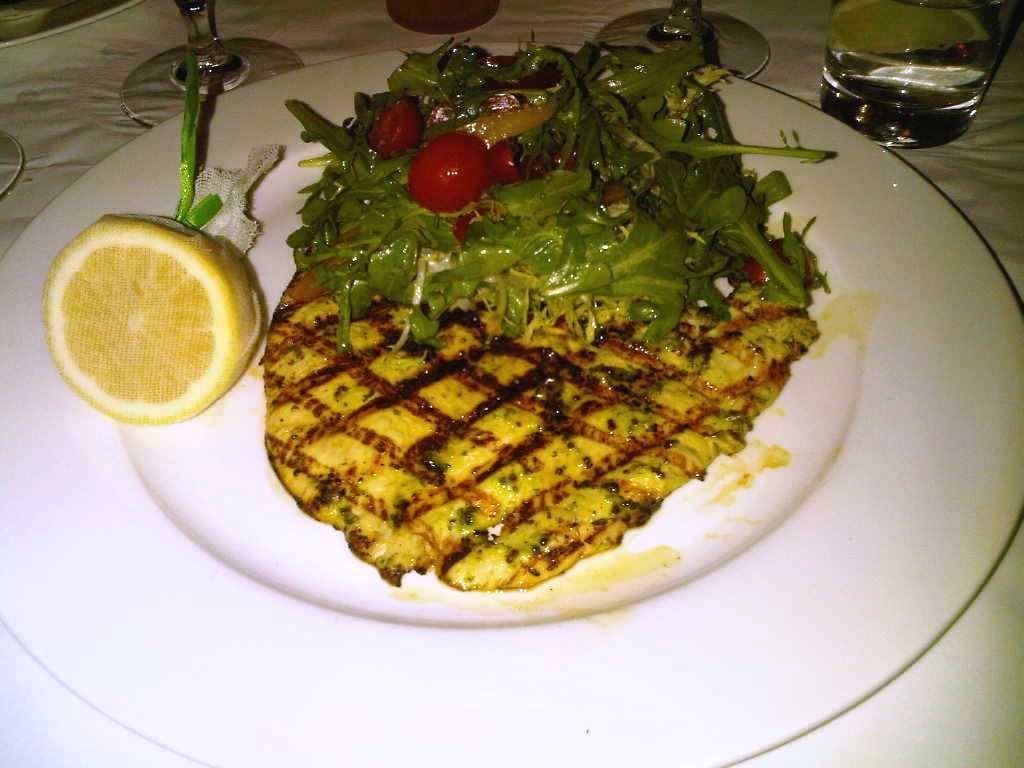 Ben's grilled chicken paillard with arugula, tomato and lemon was ...