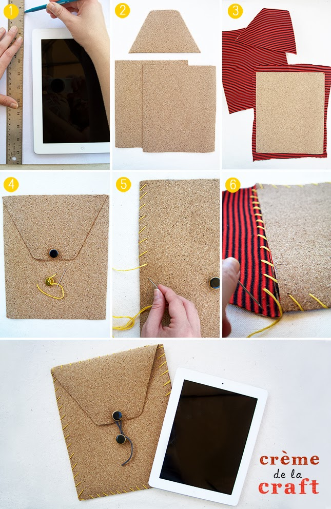 Diy ipad case from cork t shirt for Fabric crafts to make