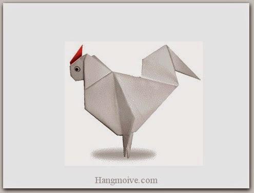 Cách gấp, xếp con gà trống bằng giấy origami - Video hướng dẫn xếp hình Động vật - How to fold a Chicken