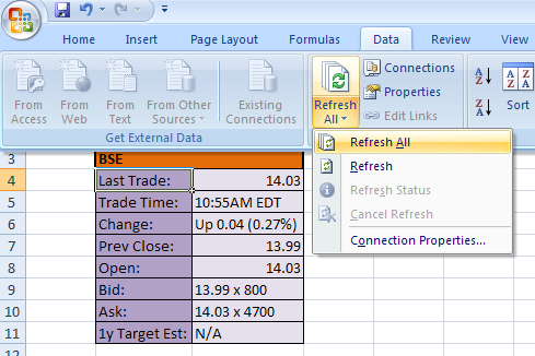 once data is downloaded in excel you can manipulate or refer to other work sheet