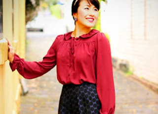 Maroon Ruffles and Navy Spots