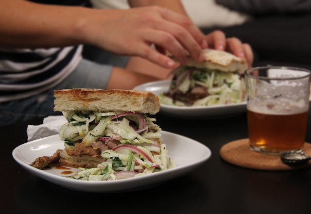 Roasted Pork Tenderloin Sandwiches with Apple Fennel Slaw