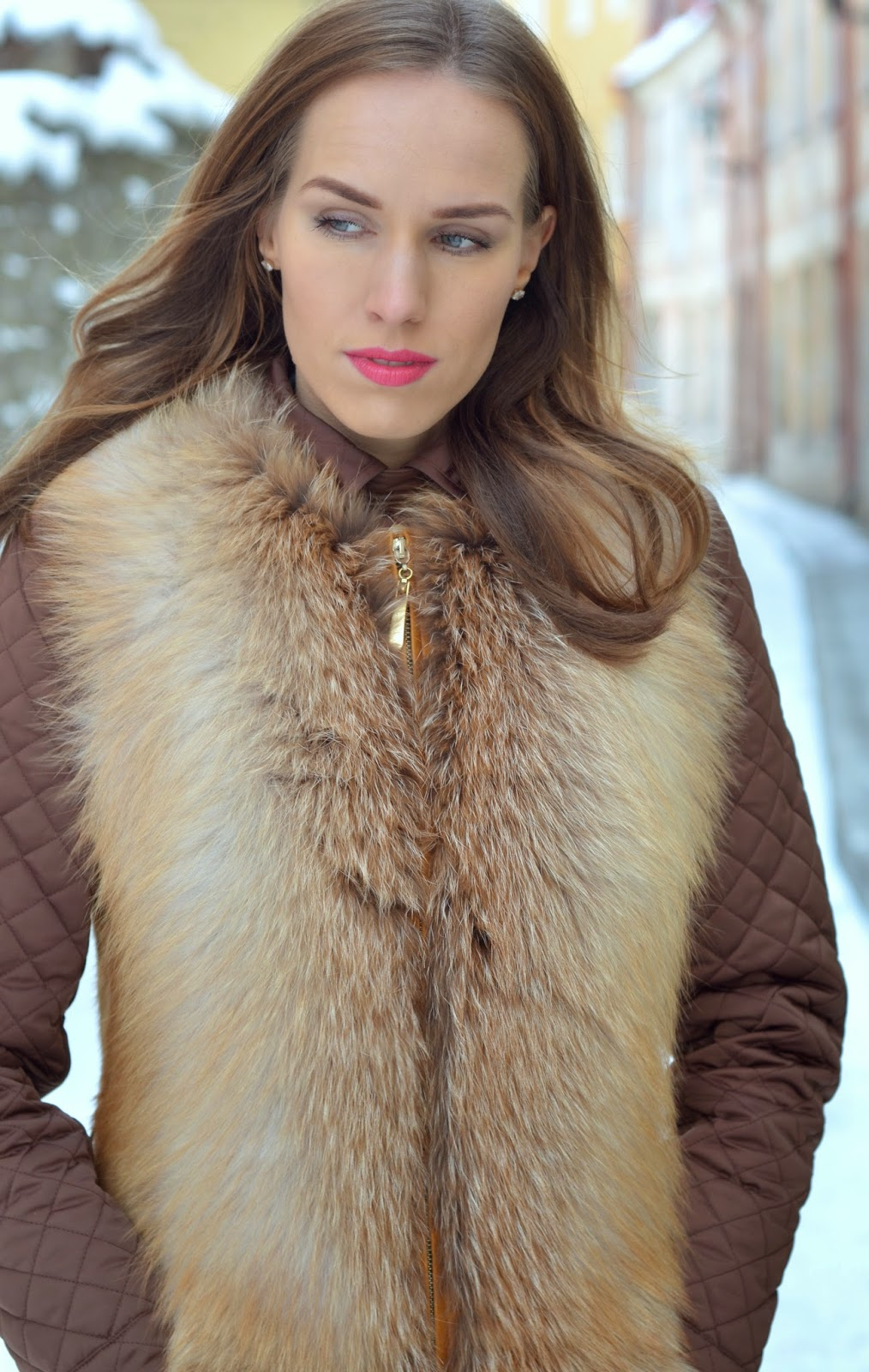 red-fox-fur-vest-massimo-dutti-quilted-jacket kristjaana mere