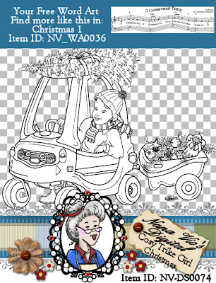 Christmas Cosy Trike GIRL digital stamp