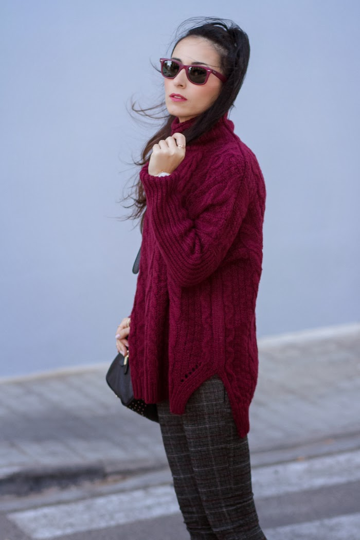 Fashion Blogger withorwithoutshoes with Burgundy Knitted Sweater and Crop Pants