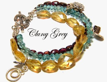 gemstone bracelet with citrine, garnet, and apatite