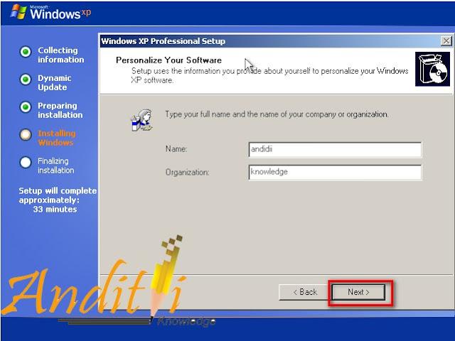 Langkah langkah Installasi Windows XP Profesional Lengkap Dengan Gambar-anditii