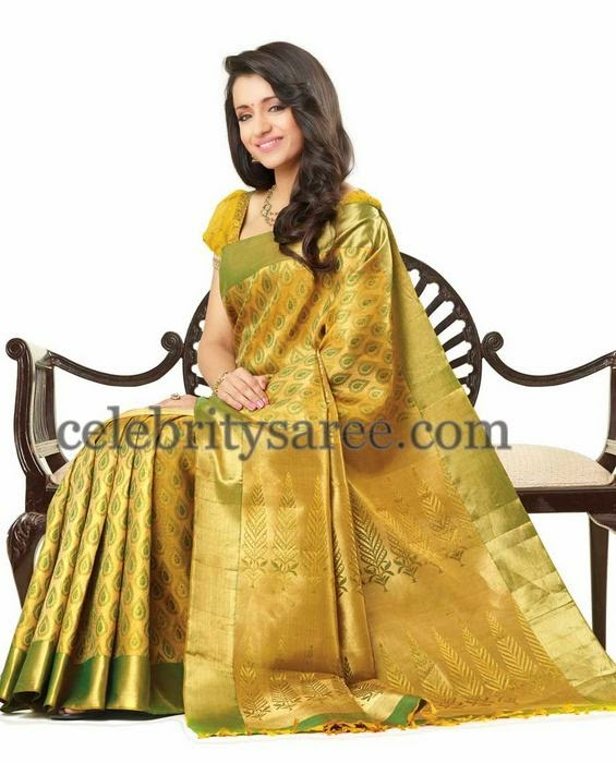 Trisha Light Greenish Silk Saree