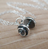 Style Athletics Ag Halo Barbell Silver Necklace