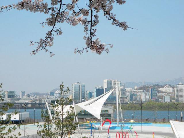 Yeouido park overlooking the Han river