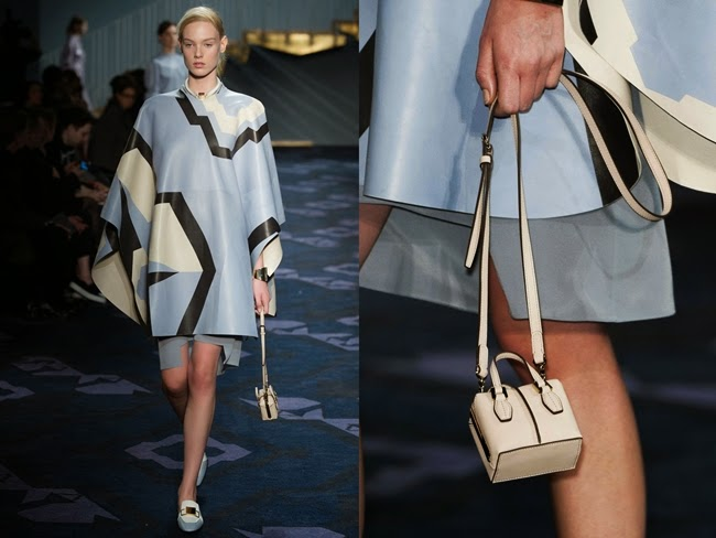 Tod's 2014 AW Light Blue Graphic Cape