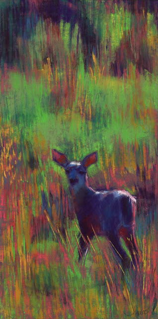 pastel artist janine aykens deer in field nisqually washington