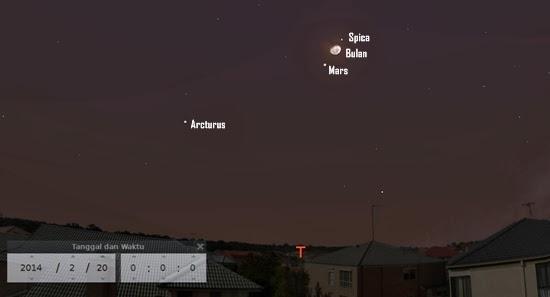 Lihat Bulan, Mars dan Spica Berdekatan Malam Ini
