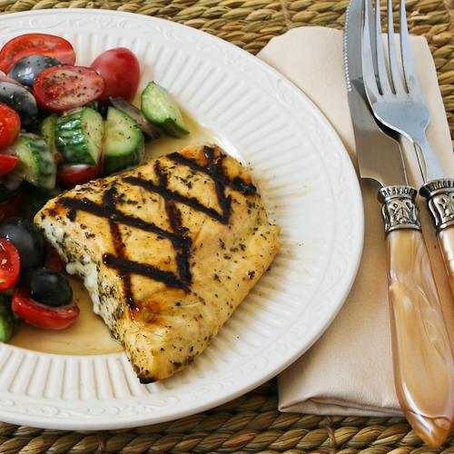 Grilled Fish with Garlic, Basil, and Lemon [from KalynsKitchen.com]