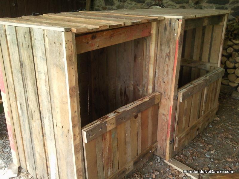 Compostador doble, carpintería madera, enredandonogaraxe.com