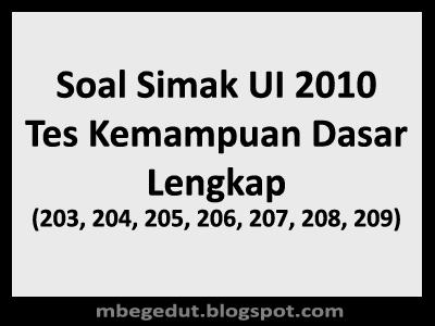 Soal Simak UI 2010 Tes Kemampuan Dasar
