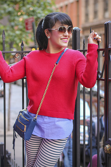 Red J.Crew Sweater with Navy Rebecca Minkoff Mini 5 zip bag