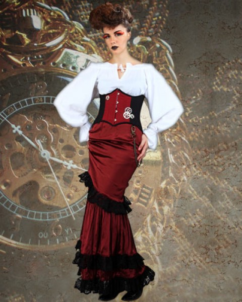 Steampunk and victorian dresses swish and sway
