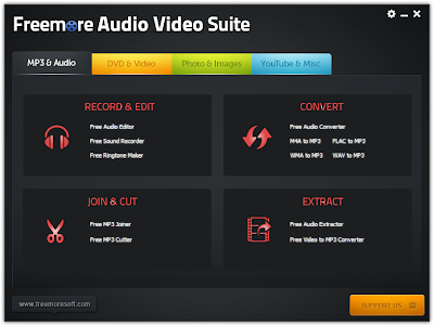 Freemore Audio Video Suite , Audio editing softwares, Video editing softwares, image editing software, multi functional image editing software, multifunctional converters, multifunctional softwares, Audio converter, video converter, mp3 joiner, ringtone maker , sound softwares, sound recorder , windows softwares, freewares,
