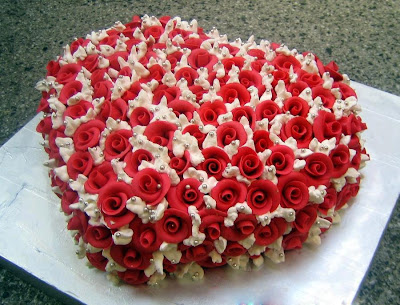 Tarta corazón de rosas