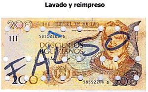 Billetes falsos en Bolivia