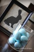 wall decor - handmade bunny with a balloon by Dominika happy easter bunny