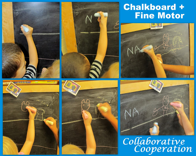 photo of: Fine motor at the chalk board, fine motor development, fine motor in Preschool