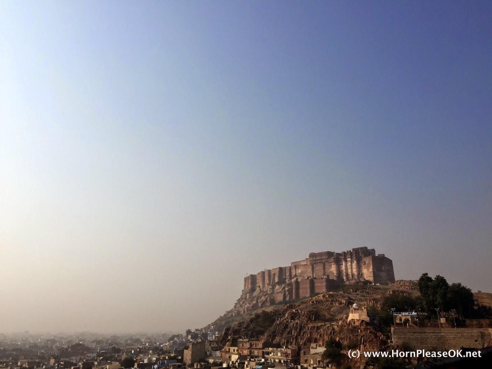 The imperious Mehrangarh fort stands on a block of volcanic rock
