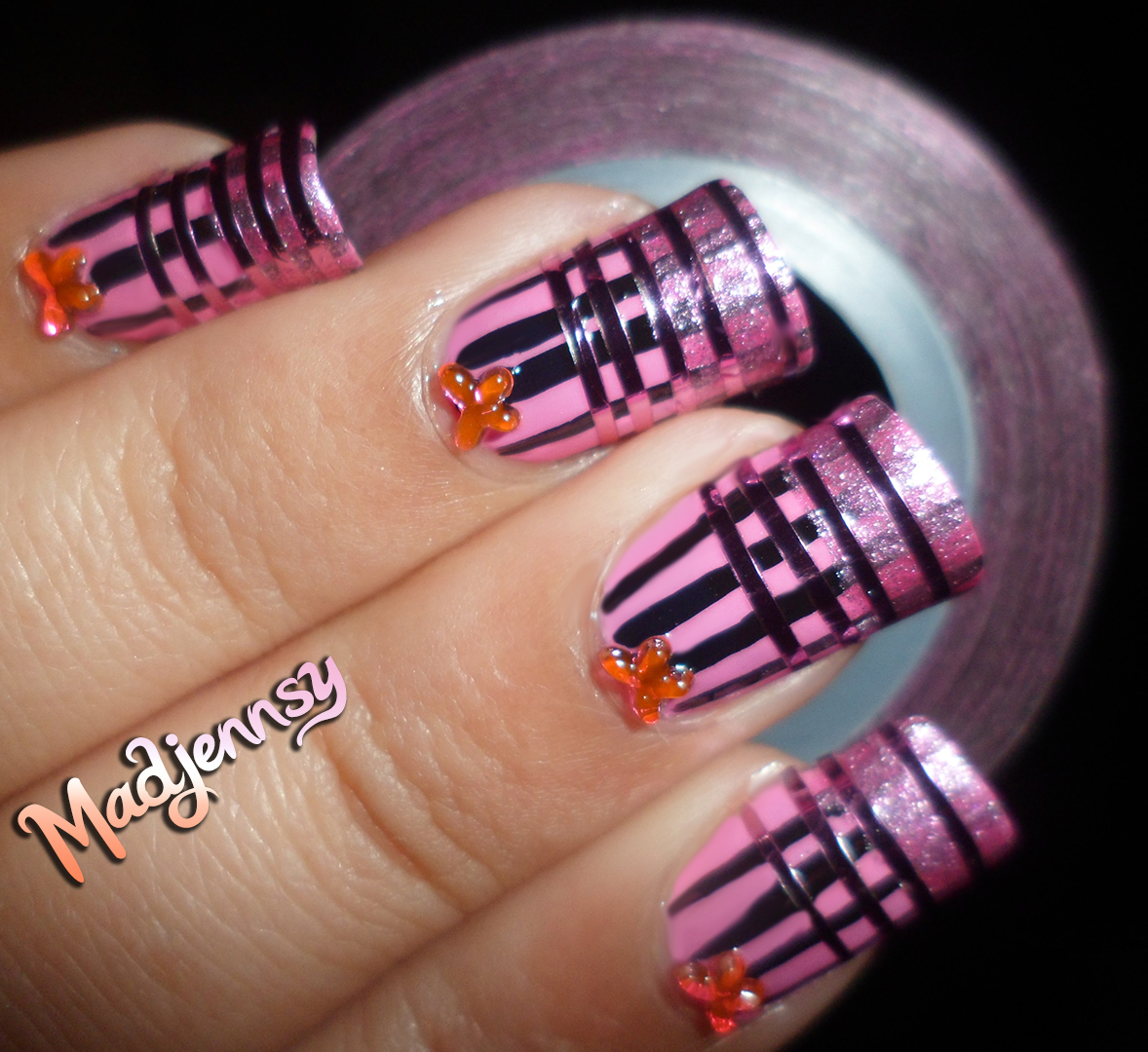 Nail Art Using Striping Tape: Madjennsy Nail Art!: Pink Striped Nails