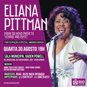 Show com Eliana Pittman - 30 de Agosto - 19h - Sala Baden Powell