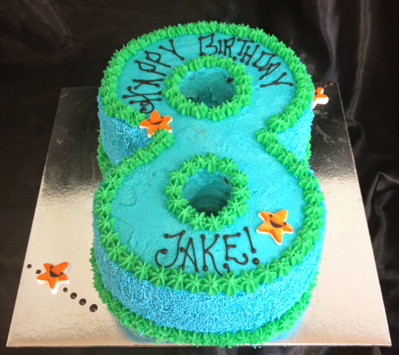 #8 cake, Blue cream, happy 8th birthday