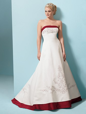These red and white wedding dresses would certainly fall in the timeless and