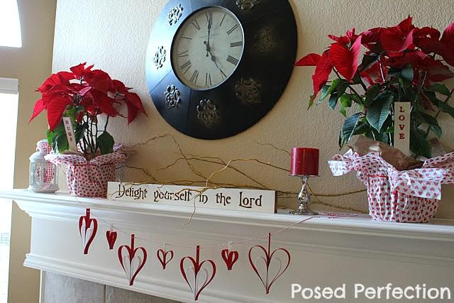 Thrifty Valentine's Day Mantel