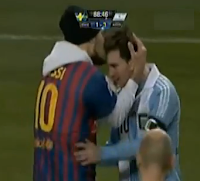Lionel Messi kissed by Barcelona fan in Sweden