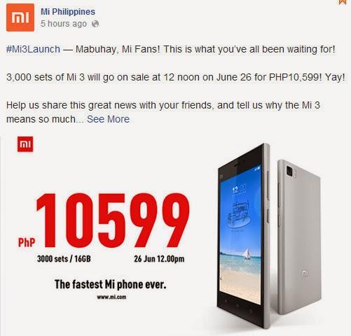 Xiaomi Mi3, Xiaomi Mi3 Philippines, Xiaomi Android Smartphone