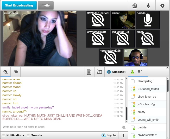 tinychat a web based video chat room. Black Bedroom Furniture Sets. Home Design Ideas