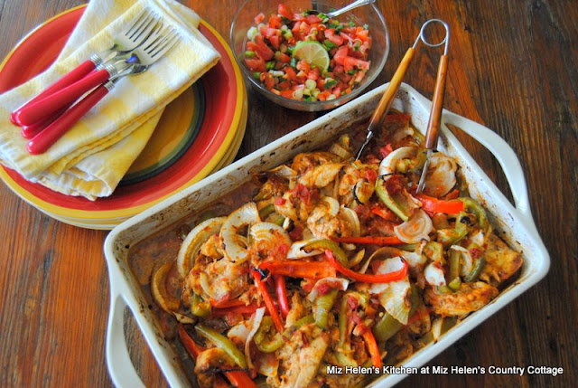 Baked Green Chili Fajita's at Miz Helen's Country Cottage
