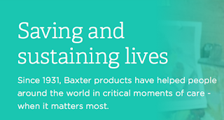 Baxter International website - saving and sustaining lives