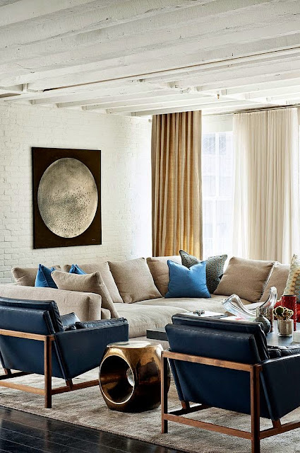 blue and white living room with modern accents