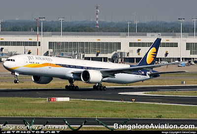 Jet Airways Boeing 777-300ER take off from Brussels