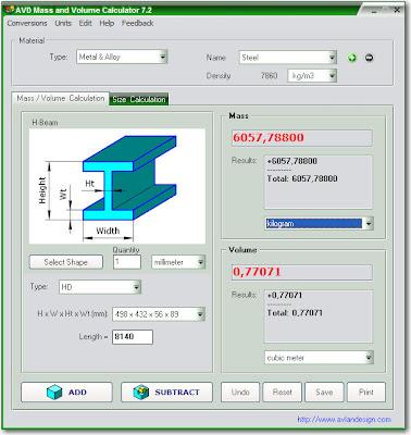 Avlan Design Avd Weight And Volume Calculator V6 1 1