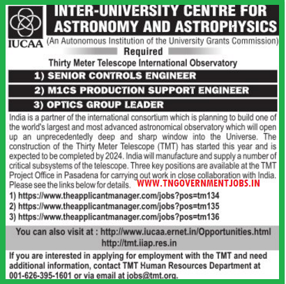 Applications are invited for Senior Control Engineer, Production Support Engineer, Optics Group Leader Vacancy Positions in Thirty Meter Telescope International Observatory Project United States of America (USA)