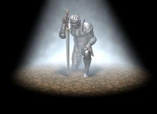 Knight In Full Armor Kneels Before God, One Hand On His Drawn Sword