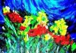 flower, abstract, by oil painting on canvas