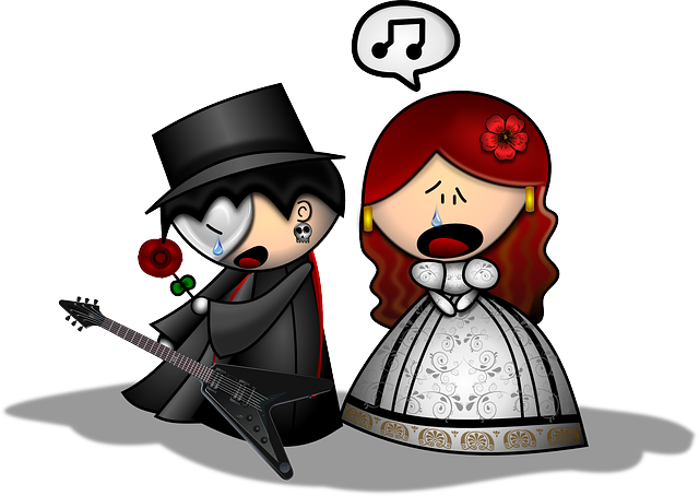 Wedding, cartoon of couple in love
