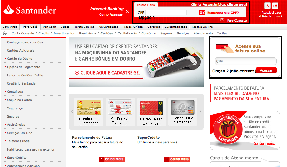 Banco Santander 2 Via Boleto Cartao De Credito Creditoiner