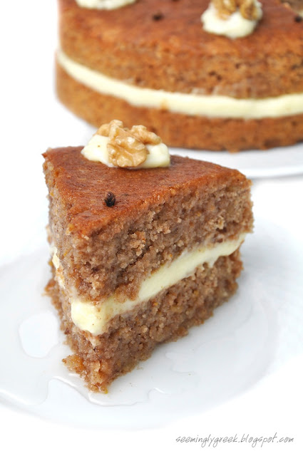 walnut piece Walnut Syrup Cake with Vanilla Creme Filling