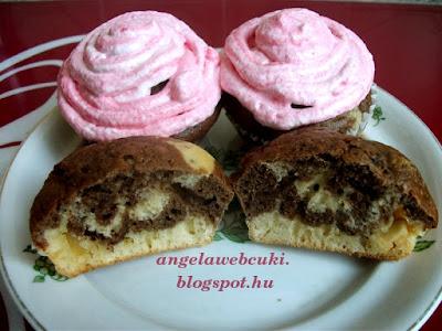 Aszalt áfonyás zebra muffin, kakaós és fehér csokoládés tésztából, rózsaszínű tojásfehérjehabbal.