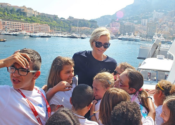 Princess Charlene of Monaco visited the Oceanographic Museum with the students in Monaco
