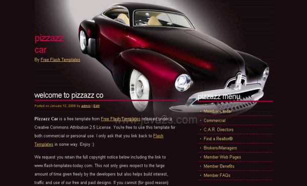 Abstract Red Cars CSS Website Template